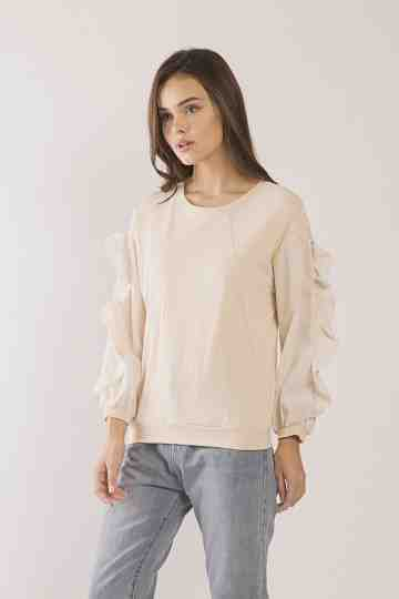 Maia Frills Sleeve Top - Cream