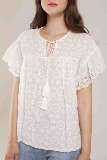 Flora Tassle Embroidery Cotton Top