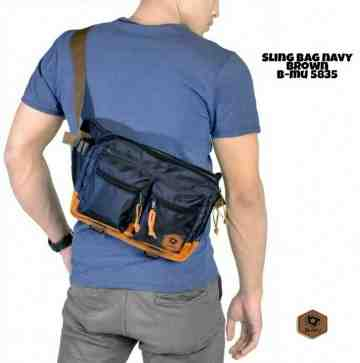SLING BAG NAVY MIX COKLAT 5835