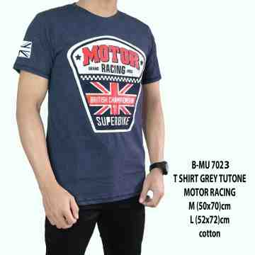 T SHIRT DISTRO GREY TUTONE MOTOR RACING 7023