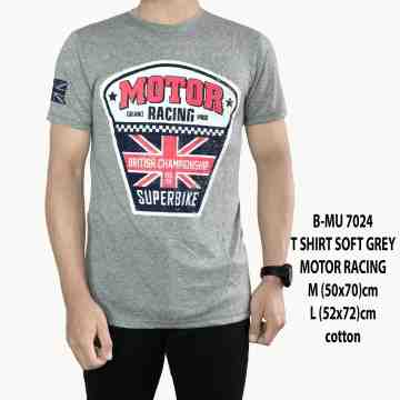 T SHIRT DISTRO SOFT GREY MOTOR RACING 7024