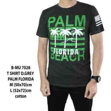 T SHIRT DARK GREY PALM FLORIDA 7028