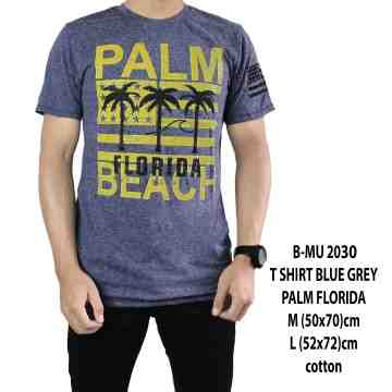 T SHIRT DISTRO BLUE GREY PALM FLORIDA 2030