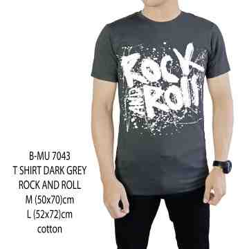 T SHIRT ABU GELAP ROCK N ROLL 7043