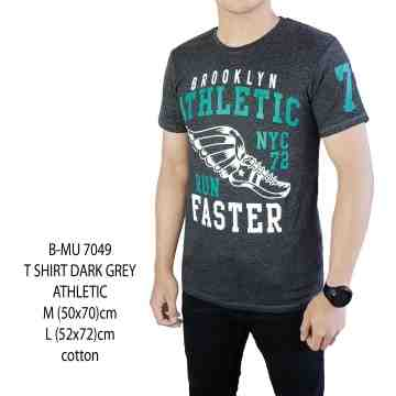 T SHIRT DISTRO ABU GELAP ATHLETIC 7049