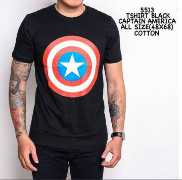 TSHIRT BLACK CAPTAIN AMERICA 5513