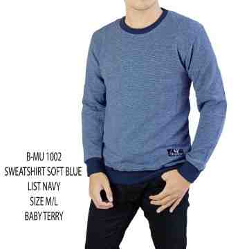 SWEATSHIRT BIRU MUDA LIST NAVY 1002
