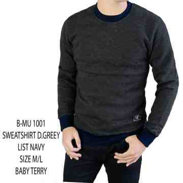 SWEATSHIRT ABU GELAP LIST NAVY 1001