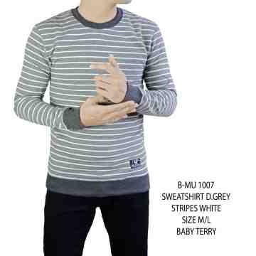 SWEATSHIRT ABU GELAP STRIP PUTIH 1007