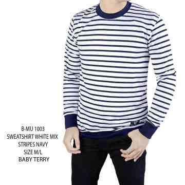 SWEATSHIRT WHITE STRIPES NAVY 1003