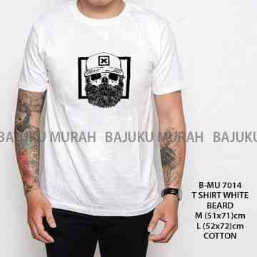 TSHIRT DISTRO PUTIH BEARD 7014