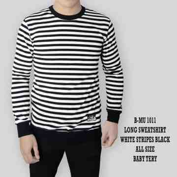 SWEATSHIRT WHITE STRIPES BLACK 1011