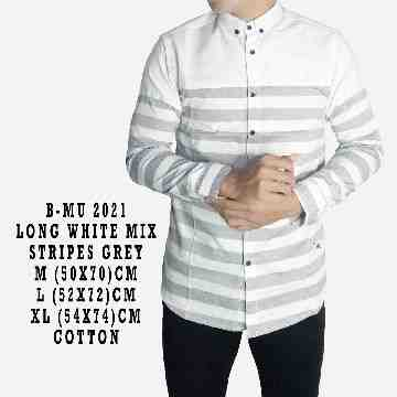 KEMEJA PANJANG WHITE MIX STRIPES GREY 2021