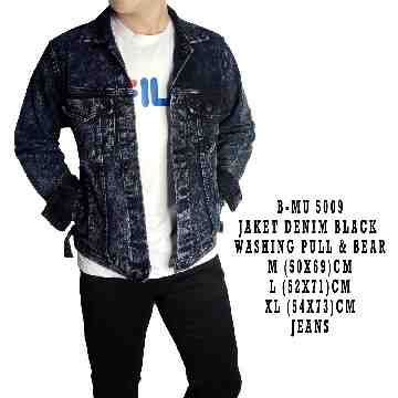 JAKET DENIM BLACK WASHING PULL&BEAR 5009