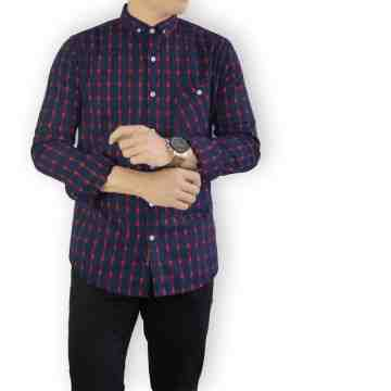 KEMEJA PANJANG FLANEL NAVY TARTAN MIX RED 2032