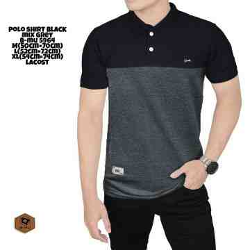 POLO SHIRT HITAM MIX ABU 5964