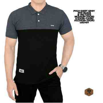 POLO SHIRT ABU GELAP MIX HITAM 5866