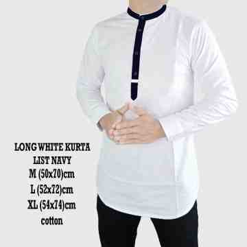 LONG WHITE KURTA LIST BLACK 2039