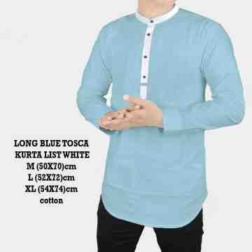 LONG BLUE TOSCA KURTA LIST WHITE 2040