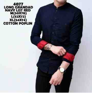 KEMEJA PANJANG GRANGDAD NAVY LIST RED 4077