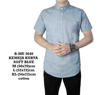 KEMEJA KURTA PENDEK SOFT BLUE SIMPLE 3040