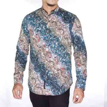 KEMEJA PANJANG BATIK BROWN MIX BLUE SONGKET 4427