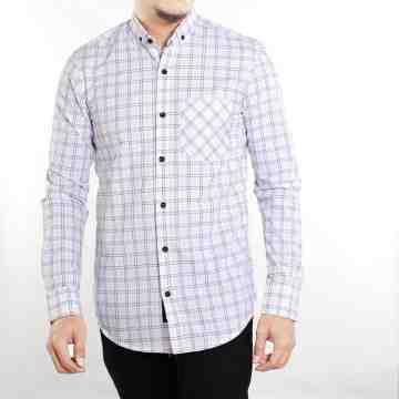 KEMEJA PANJANG WHITE TARTAN MIX SOFT BLUE
