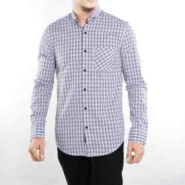 KEMEJA PANJANG SOFT BLUE TARTAN MIX BLACK