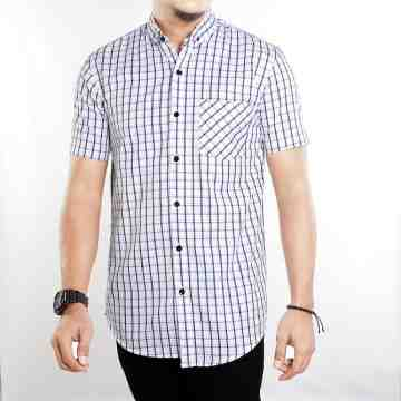 KEMEJA PENDEK WHITE NAVY TARTAN SIMPLE 1023