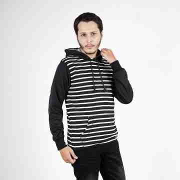 SWEATER HOODIE BLACK MIX STRIPES WHITE 5019