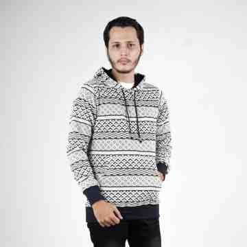 SWEATER HOODIE WHITE MIX BLACK TRIBAL 5022