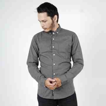 KEMEJA PANJANG STRIPES DARK GREY 2047