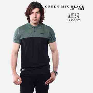 POLO SHIRT HIJAU ARMY MIX HITAM 8048