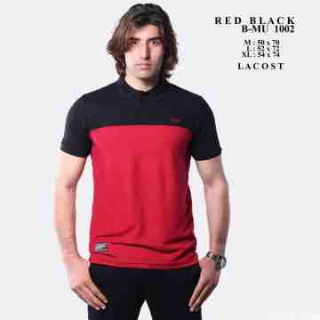 POLO SHIRT BLACK MIX RED 8042