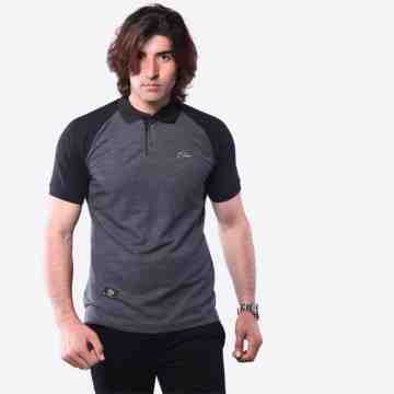 POLO SHIRT RAGLAND BLACK MIX GREY 8047