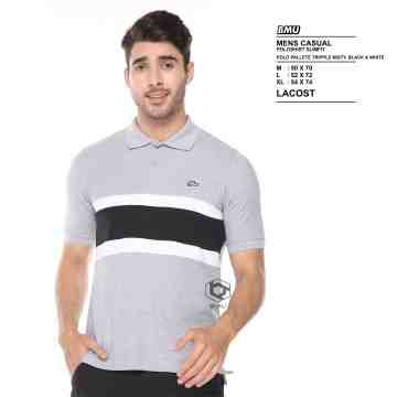 POLO SHIRT SFT GREY WHITE MIX BLACK 8055