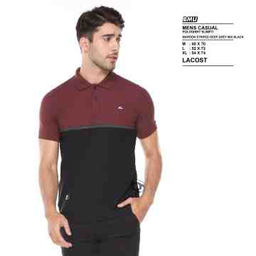 POLO SHIRT MAROON BLACK MIX STRIPES GREY 8058