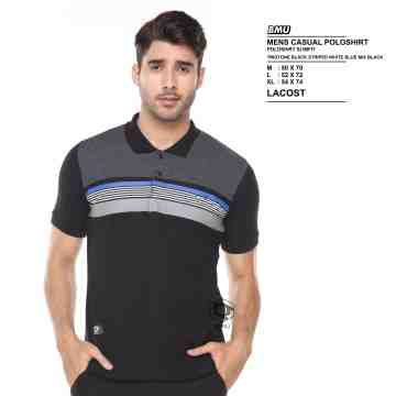 POLO SHIRT DARK GREY BLACK MIX BLUE LINES 8062