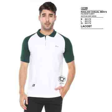 POLO SHIRT RAGLAND WHITE MIX GREEN ARMY 8020
