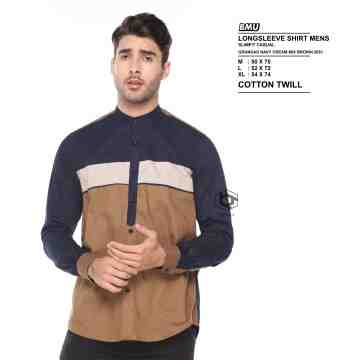 KEMEJA PANJANG GRANDAD NAVY CREAM MIX BROWN 2051
