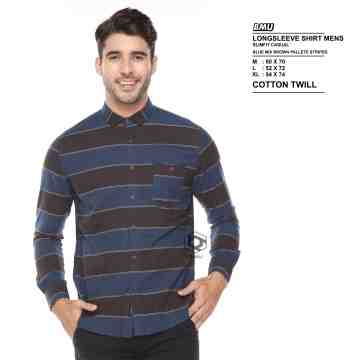 KEMEJA PANJANG BLUE MIX DARK BROWN 2049