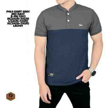 POLO SHIRT SANGHAI GREY MIX NAVY TUTONE 8202