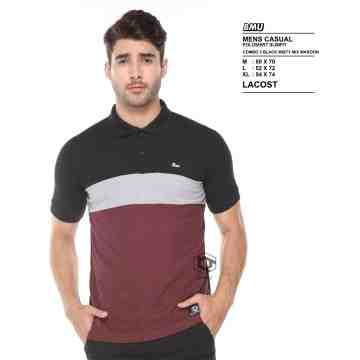POLO SHIRT HITAM ABU MIX MAROON  8059
