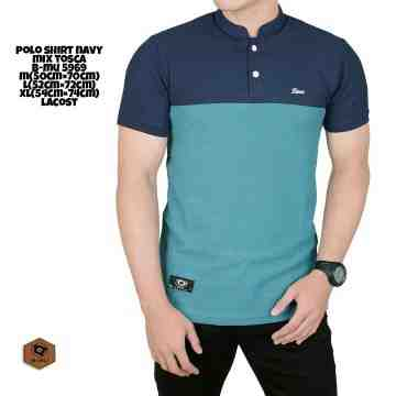 POLO SHIRT NAVY TUTONE MIX TOSCA MUDA 8204