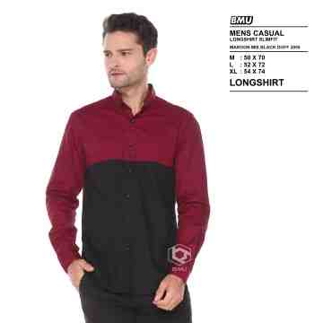 KEMEJA PANJANG SIMPLE MAROON MIX BLACK 2055