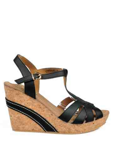 Athena Wedges Sandals Black