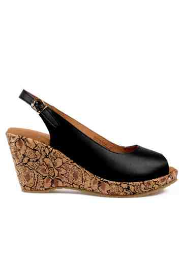 Selestia Peep Toe Wedges Black