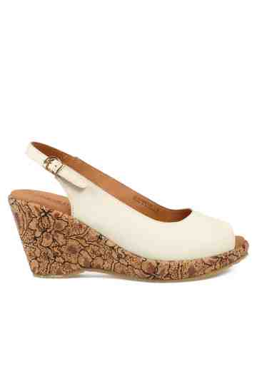 Selestia Peep Toe Wedges Broken white