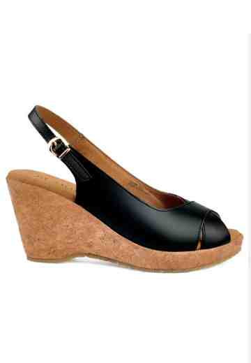 Celine Peep Toe Wedges Black