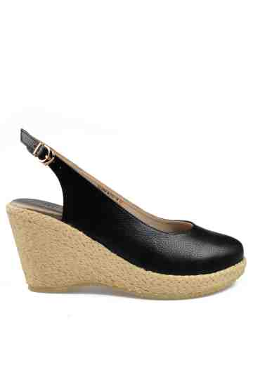 Selena Sling Back Wedges Black